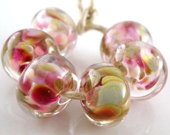 Royal Ballet Encased SRA Lampwork Handmade Artisan Glass Donut/Round Beads Made to Order Set of 6 10x15mm