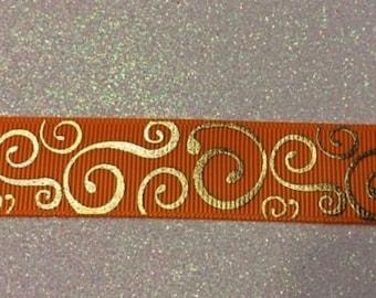 Orange gold swirl Grosgrain Ribbon 5 Yards Hair Bows, scrapbook