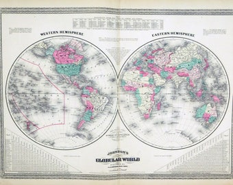 Antique world map western hemisphere eastern hemisphere map 1873 antique world map western hemisphere eastern hemisphere map of the world gumiabroncs Images