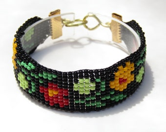 Black and Floral Bead Loom bracelet