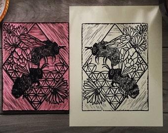 Two Charming Bumblebees Blockprint