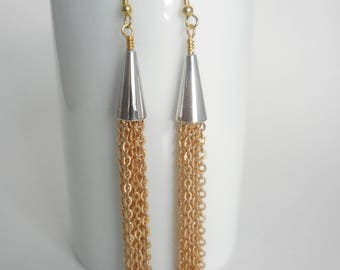 Gold and Silver Chain, Tassel Earrings