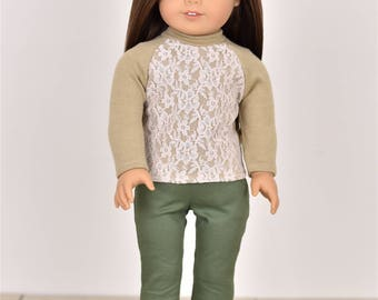 Raglan Turtle Neck Lace  Sweater 18 inch doll clothes