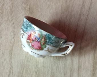 Vintage Miniature Romantic Scene Bone China Teacup