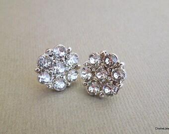 Bridal Rhinestone Earrings, wedding Rhinestone Earrings, Wedding Rhinestone Earrings, bridal stud earrings, Bridesmaid Earrings, stud, LUCY