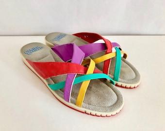 Vintage Shoes Women's 80's Colorful Slides, Sandals, Leather by Comfort Contours (Size 7 1/2)