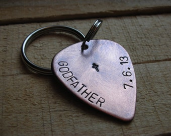 Godparent Guitar Pick Keychain-- Gift for Godfather-Gift for Godmother-Baptism-Christening