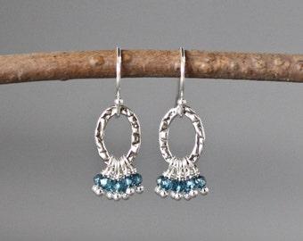 Blue Topaz Earrings - London Blue Topaz - Chandelier Earrings - Blue Gemstones - December Birthstone - Blue Earrings - Blue Quartz Earrings