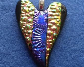 HP 004  Dichroic  Heart Pendant Purple Burst Center - Cobble Raspberry - Gold,Dichroic Fused Glass, Multi Colored, Glass