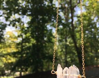Iridescent quartz point gold necklace