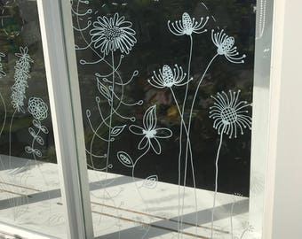 Botanical flowers window drawing - DIY Print for your window - Summer flowers - doodle flowers direct download