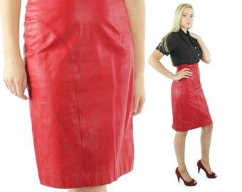 Vintage 80s Red Leather Skirt High Waisted Pencil Skirt Knee Length 1980s Biker Rocker Small S Pelle Cuir