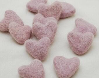 3cm 100% Wool Felt Hearts - 10 Count - Light Pastel Purple