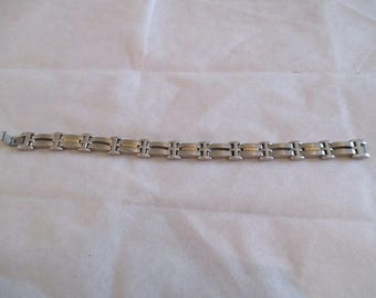 Silver and gold-plated steel bracelet