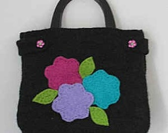 Petal Pusher  Hand Knit Felted Bag Pattern PDF