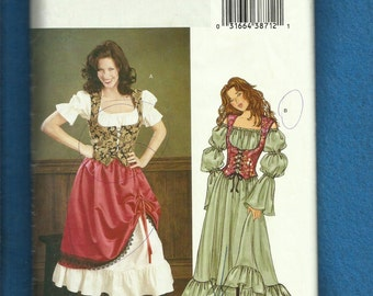 Butterick 294 Ye Olde Barmaid Dress Over Skirt and Bustier Size 12-14-16