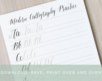 Modern Calligraphy Worksheet Pointed Pen Alphabet Practice Guide Learn Printable Sheet