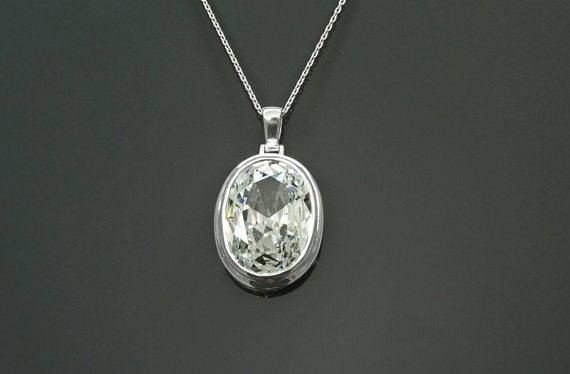 Modern Oval Pendant - Sterling Silver 925 - White Diamond Color - Diamond Cubic Zirconia - Oval Cz Pendant - Diamond Look Pendant - Gift