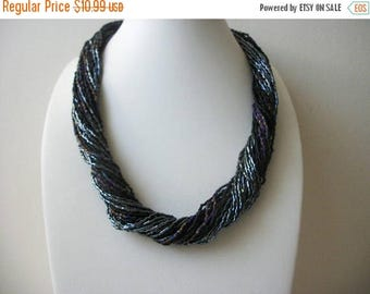 ON SALE Vintage Iridescent Gray Seed Beads Shorter Length Very Chunky Necklace 31317