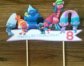 Dreamworks Trolls the movie cake topper with name and age.