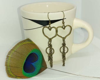 Brass heart with dangling jet earrings