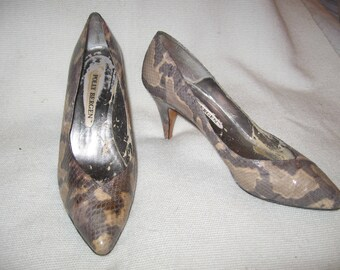 Snakeskin Women's Heels Vintage 1950's / 1960's Authentic Polly Bergen Size 7-71/2 - SALE 10% Off