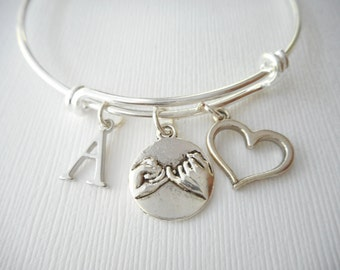 Pinky Promise, Heart- Initial Bangle/ Daughter Bracelet, Birthday Gift, Bff bracelet, gift for her, girl bracelet, sister bracelet