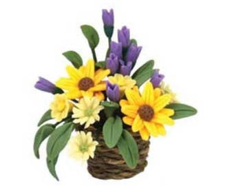 Dollhouse Miniature Fresh Flowers In A Basket. 1:12 Scale