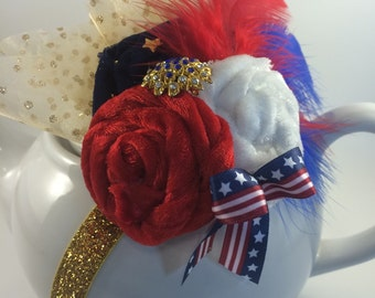 Fourth of July, Fascinator, Stars and Stripes, 4th of July, American flag, Red white and blue, Fascinator headband, Patriotic, Fireworks