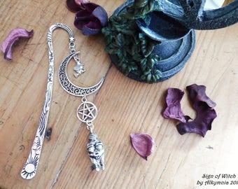 Metal bookmark with pagan symbols, metal bookmark Pagan goddess, bookmark mother goddess with esoteric symbols, lovers of books