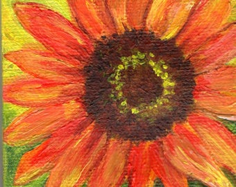 Sunflower mini canvas art, sunflower original mini painting on Canvas, Easel, acrylic painting of sunflower 3 x 3 SharonFosterArt
