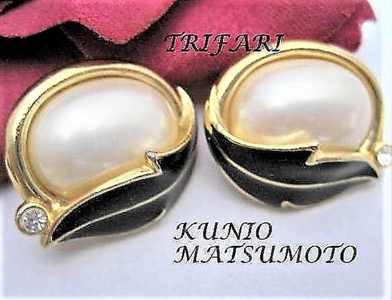 Trifari Earrings,  Kunio Matsumoto, Signed Vintage Pearl,  Statement Earrings, Wedding Pierced