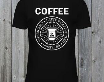 Coffee T-Shirt. Latte, Cappuccino, Espresso, Americano Tee (Plain)