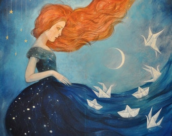 """Limited edition giclée print of original painting by Lucy Campbell - """"Contemplating Departure"""""""