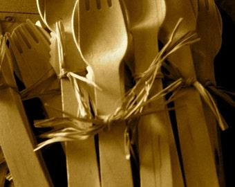 Wood Utensil Set   Fork, Knife, Spoon