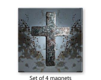 Cross magnets, set of 4 fridge magnets,  religious magnet set, refrigerator magnets, grunge decor, large magnets, gray magnets