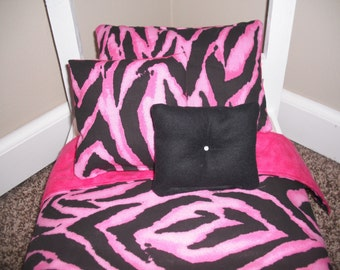 4-piece Bedding set Pink Zebra print  fits American Girl doll beds