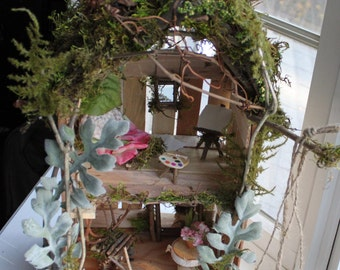 Fairy House ~ Shim Fairy House Handcrafted by Olive~ Two Story House,  Garden Fairies, Faerie House, Fae House