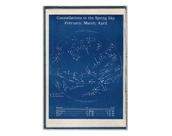 c. 1944 - CONSTELLATIONS PRINT - original vintage print - spring sky in February, March and April - blue star map on board