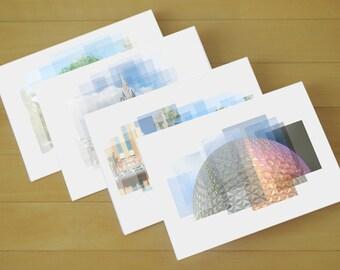 Disney World Icons - Set of 4 Notecards with Envelopes - Disney stationery, blank cards, Disney notecards, Epcot, Magic Kingdom, Disney card