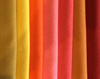 PURE WOOL FELT***Shades of Autumn***Craft Supply*** 7 sheets***  Waldorf Dolls***Steiner Toys......Free Shipping in Australia..........