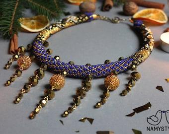 Navy blue evening jewelry Collar blue statement necklace Crochet necklace Beaded necklace Navy necklace Gift for Women Beadwork choker