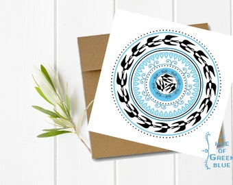 Concentric Swallows Greeting Card with Kraft Envelope