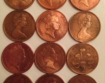 2 pence coins (10 in total) 1980-1997 copper coin