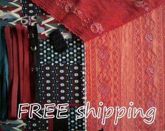 LINGERIE Kit Art Deco Graphic Blue & Red for 1 BRA + Panty FREE Shipping by Merckwaerdigh