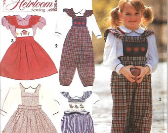 Simplicity 8020 Classic Heirloom Sewing Pattern- Oliver Goodin, Child's Blouse, Overalls And Jumper, Size 2-4,  UNCUT