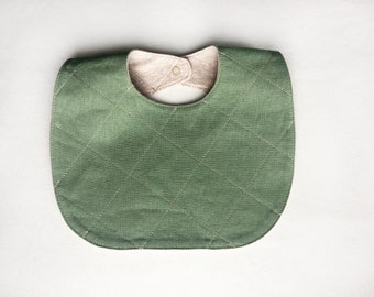 Quilted Baby Bib Reversible Organic Cotton and Linen