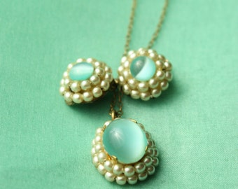 Moonstone Cabochon Stones Seed Pearls Vintage Necklace and Earring Set