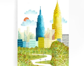 Large Wall Art New York Canvas, Central Park Skyline Print, Home decor, Empire State Building, Chrysler Building, NYCP1