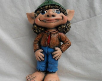 Ceramic Garden Gnome or Imp, hand painted, pixie - 13 inches